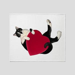 Black White Cat Heart Throw Blanket