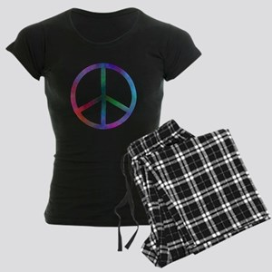 Multicolored Peace Sign Women's Dark Pajamas