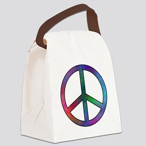 Multicolored Peace Sign Canvas Lunch Bag