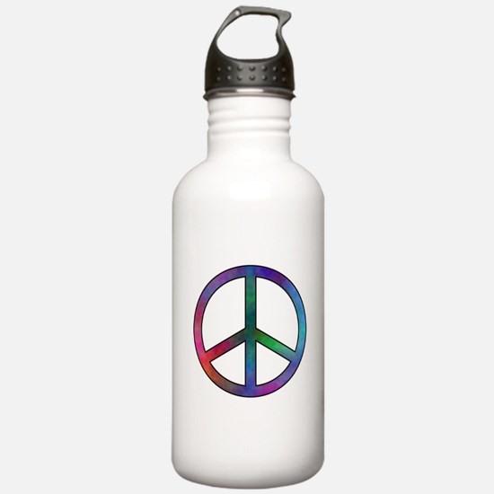 Multicolored Peace Sig Water Bottle