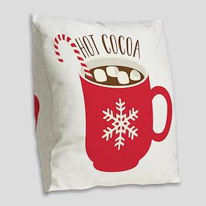 Hot Cocoa Burlap Throw Pillow