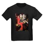 TILE-Lady-Cav-Blk-Tan Kids Dark T-Shirt
