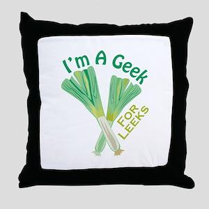 Geek For Leeks Throw Pillow