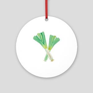 Green Onions Round Ornament