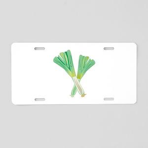 Green Onions Aluminum License Plate