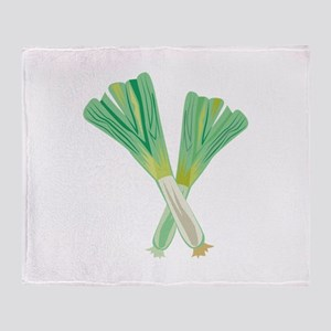 Green Onions Throw Blanket