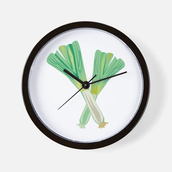 Green Onions Wall Clock