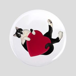 Black White Cat Heart Button