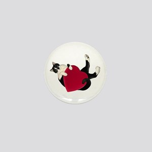 Black White Cat Heart Mini Button