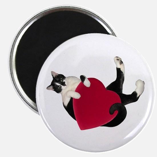 Black White Cat Heart Magnets