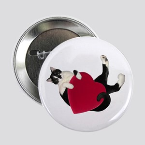 "Black White Cat Heart 2.25"" Button (10 pack)"