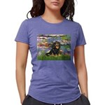 PILLOW-Lilies2-Blk-Tan Womens Tri-blend T-Shir