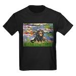 PILLOW-Lilies2-Blk-Tan Kids Dark T-Shirt