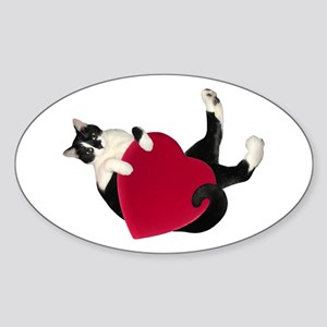 Black White Cat Heart Sticker