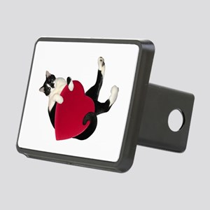 Black White Cat Heart Hitch Cover