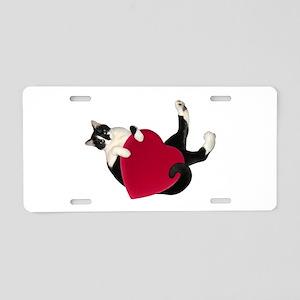 Black White Cat Heart Aluminum License Plate