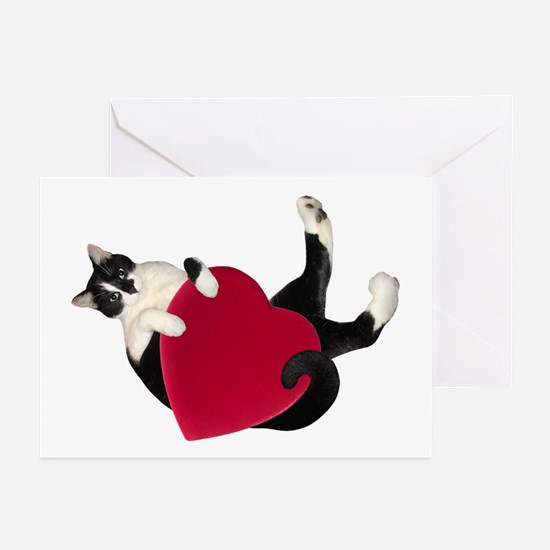 Black White Cat Heart Greeting Cards