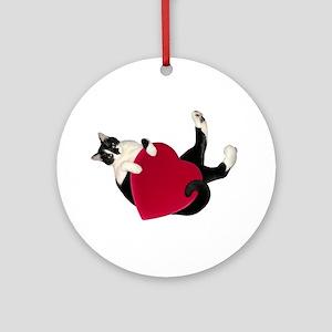 Black White Cat Heart Round Ornament