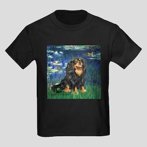 TILE-Lilies5-Cav-Blk-Tan Kids Dark T-Shirt