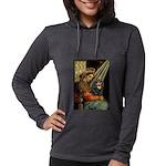 TILE-MadonnaCav-Blk-Tan Womens Hooded Shirt