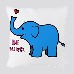 be kind elephant Woven Throw Pillow