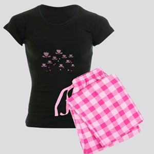 Pink Flower Design Women's Dark Pajamas