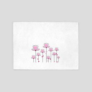 Pink flower design 5'x7'Area Rug