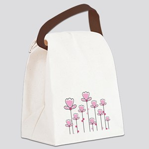 Pink flower design Canvas Lunch Bag