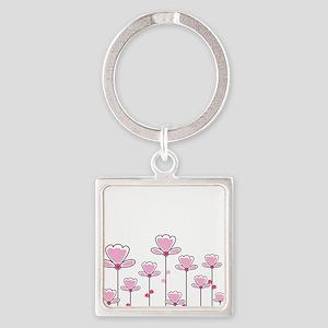 Pink flower design Keychains