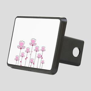 Pink flower design Rectangular Hitch Cover