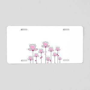 Pink flower design Aluminum License Plate
