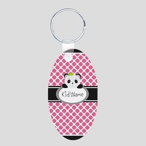 Personalized Name Panda Qua Aluminum Oval Keychain