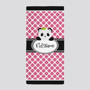 Personalized Name Panda Quatrefoil Beach Towel