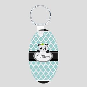Mint Personalized Panda Bea Aluminum Oval Keychain