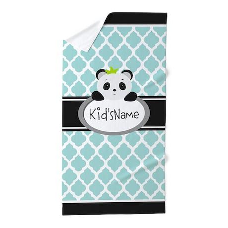 Mint Personalized Panda Bear Beach Towel