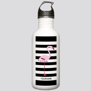 Pink Flamingo Stripes Stainless Water Bottle 1.0L