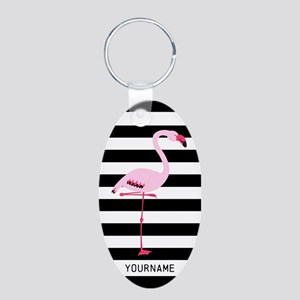 Pink Flamingo Stripes Perso Aluminum Oval Keychain