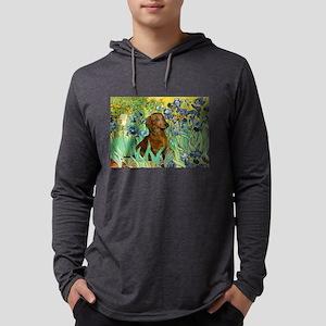 5.5x7.5-Irises-Dachs-Brwn1 Mens Hooded Shirt
