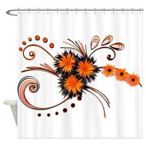 Orange And Black Shower Curtains