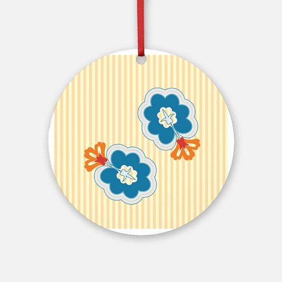 Floral Paisley Retro Ornament (Round)
