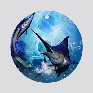 Awesome marlin Round Ornament