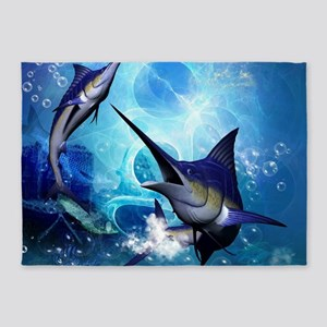 Awesome marlin 5'x7'Area Rug