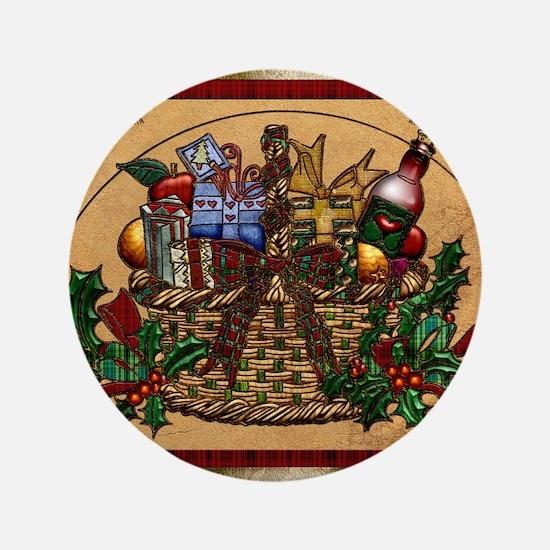 Harvest Moons Christmas Basket Button