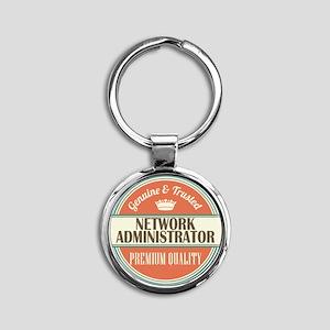 network administrator vintage logo Round Keychain