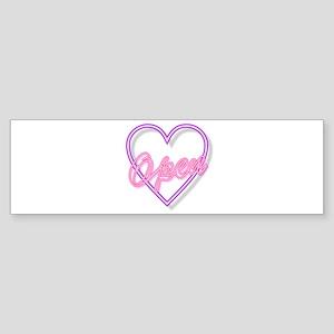 Neon Light Typography Heart Open Bumper Sticker