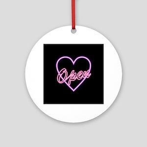 Neon Light Typography Heart Round Ornament