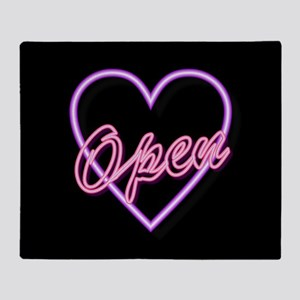 Neon Light Typography Heart Throw Blanket