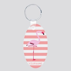 Coral Flamingo Personalized Aluminum Oval Keychain