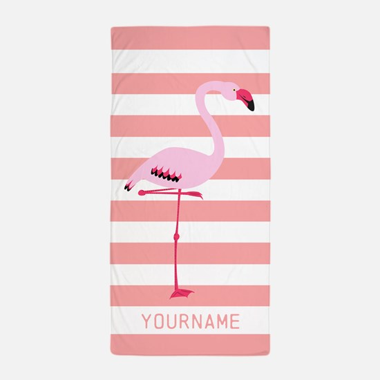 Coral Flamingo Personalized Name Beach Towel