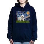 MP-STARRY-EBD-White9 Women's Hooded Sweatshirt